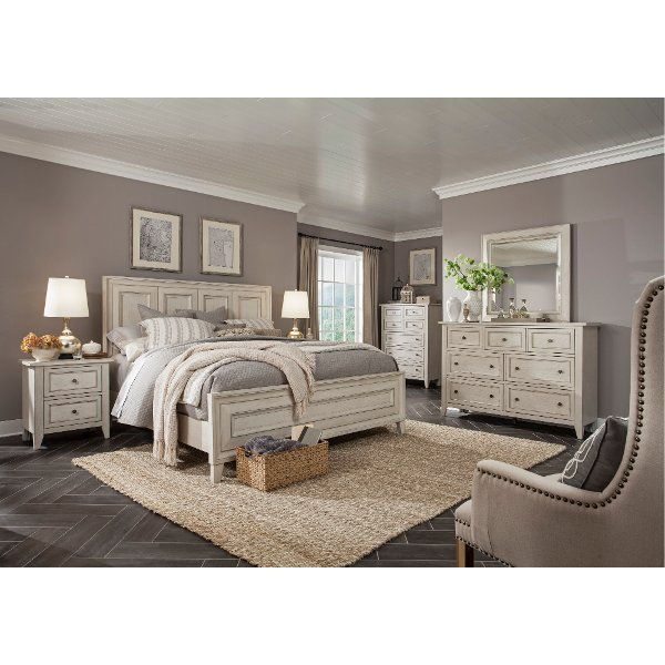 Weathered White 4 Piece Queen Bedroom Set Raelynn In 2019