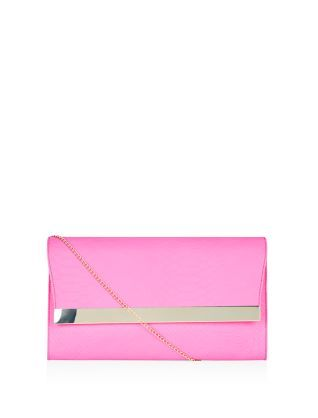 This Pink Croc Texture Metal Bar Front Clutch will add a burst of colour.