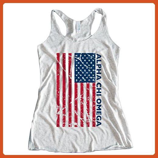 Fast Yeti Tees Adult Alpha Chi Omega July 4th America Tee NLR Medium Heather White - Holiday and seasonal shirts (*Partner-Link)