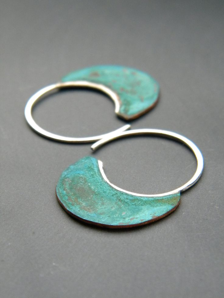 Little Urban Hoops, Verdigris - handmade copper and sterling silver earrings, verdigris patina. $32.00, via Etsy.