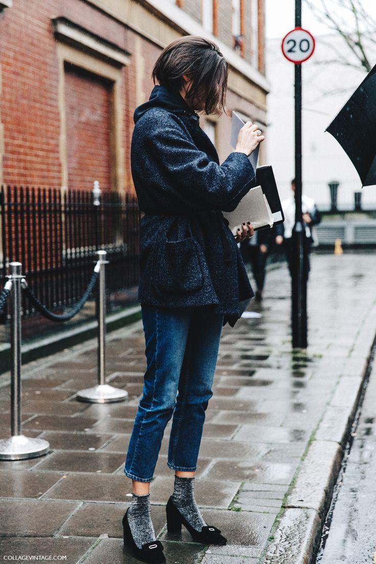 LFW-London_Fashion_Week_Fall_16-Street_Style-Collage_Vintage-Jeans-Glitter_Socks-Blazer-JW_Anderson-