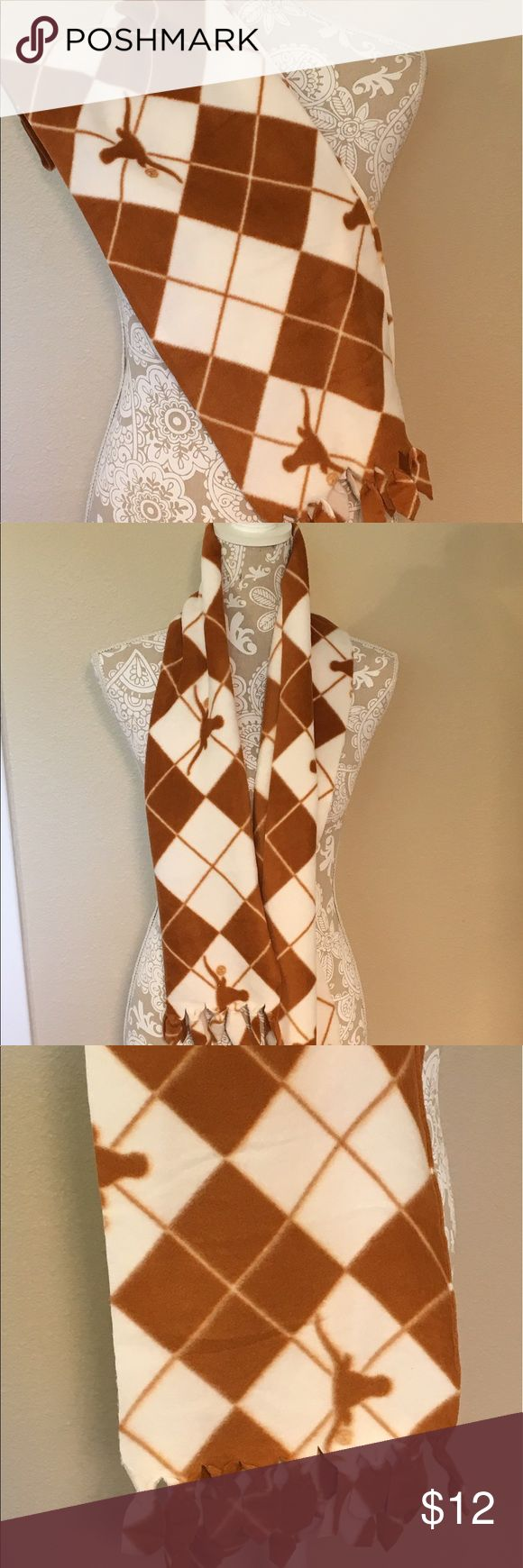 NWOT hand made UT University Texas scarf w/ fringe Handmade University of Texas UT scarf with fringe on each end. White and burnt orange with UT longhorn logo. New, never used, perfect condition, smoke free home. #UT #university #texas #scarf #accessory #white #orange #new #handmade ❌no trades❌ Accessories Scarves & Wraps