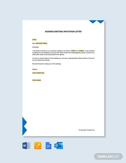 Free Formal Business Meeting Invitation Letter Template