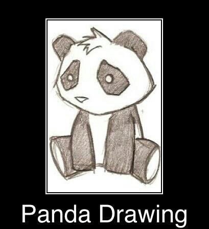 Panda Drawing... That's really cute :-)   Drawings   Pinterest