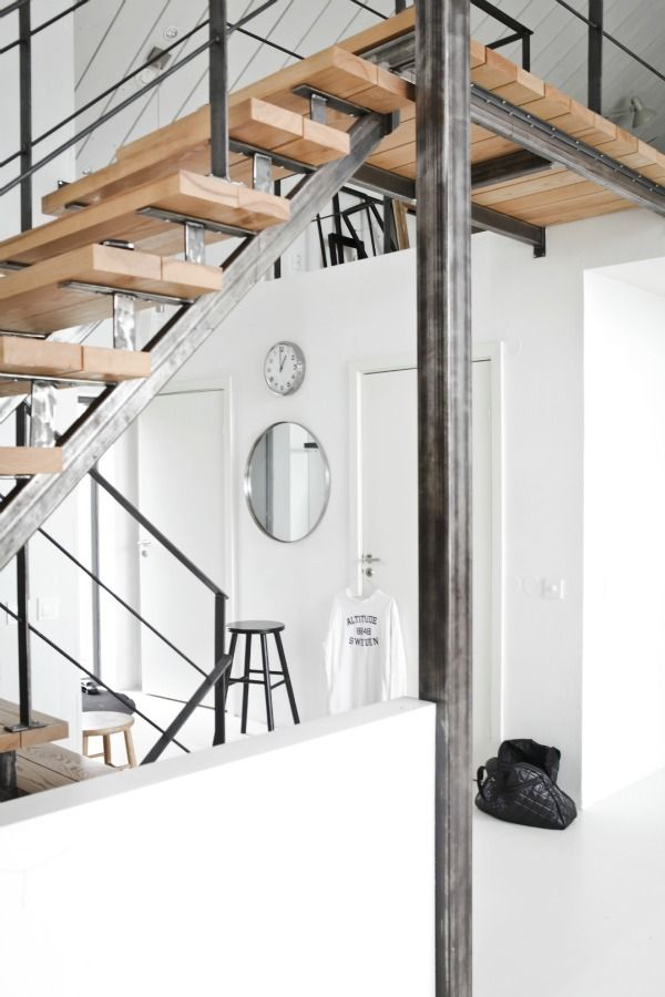 wood and steel industrial stairs for loft