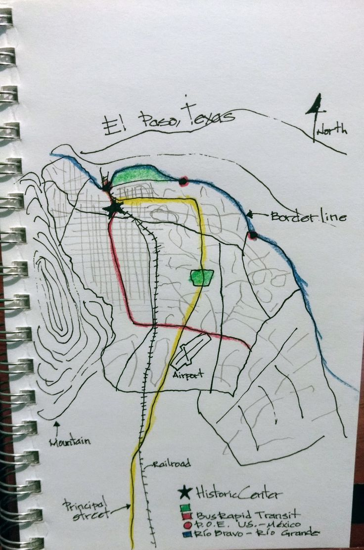 """WK-1 Mental map. Im Daniel Vargas, Urban Planner from Juarez. The border city of Juárez, at the north, is El Paso Texas. Major features are the street structure, at the north is a typical grid pattern, lost around the 60s. Main streets, on yellow the Panamerican street, the principal, in red the Eje Vial-Tierra nueva street, with most of the emplyment and people in the city with a BRT system. 2 urban parks, """"Central park"""" at the center, at the north El Chamizal. 3 Points of Entry to the US."""