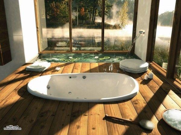 Gorgeous Indoor Pond Design Comes with the Interesting Design: Wooden Bathroom Porcelain Bath Tub Homes With Indoor Ponds ~ anahitafurniture.com Indoor Inspiration