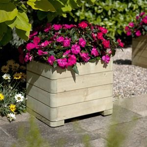 This square wooden planter with rounded corners is available as part of the set and is pressure treated for longevity.