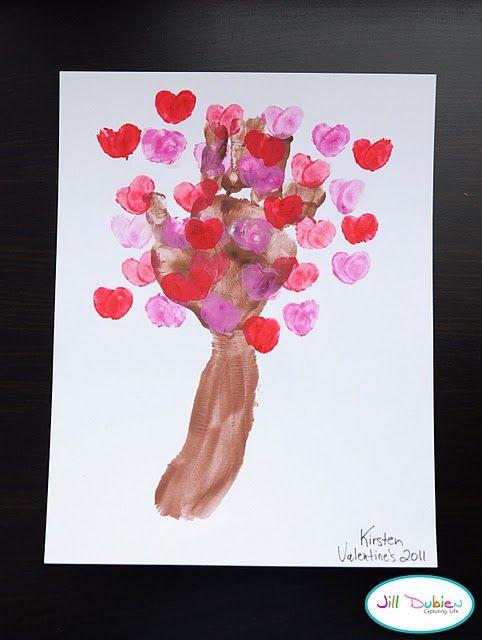 thumb print valentine's tree