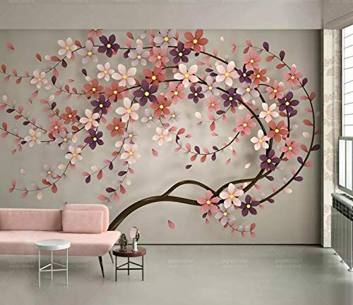 3D Pink Flower White Wallpaper Wall Mural Removable Self-adhesive Sticker 320