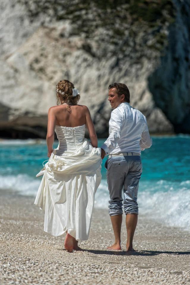 On the beach weddings in Greece, Myrtos beach Kefalonia, Odyssey weddings