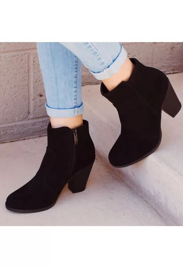 black suede heeled ankle boots with zip down the side
