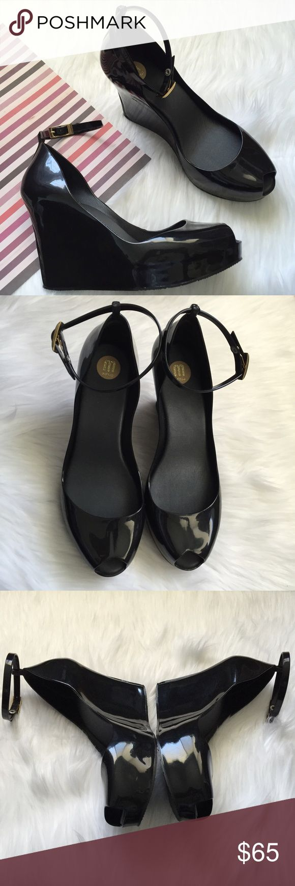 "(NEW) Melissa Patchuli Jelly Wedge NWOB, Women's peep toe wedge, with adjustable ankle strap and gold buckle closure, Synthetic upper, Rubber Sole, approx 3.25"" heel and .75"" platform. Made in Brazil. Black Color. Please feel free to ask questions. No trades. Melissa Shoes Wedges"