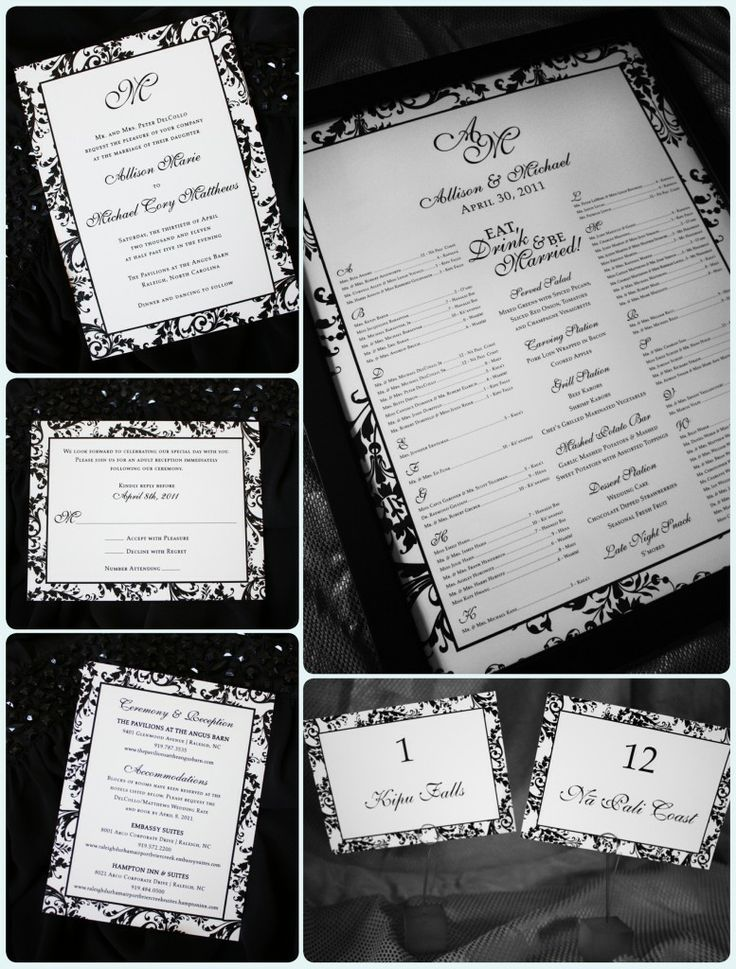 30 best invitation card images on pinterest bridal invitations black damask border with monogram wedding invitations seating chart and table names stopboris Images