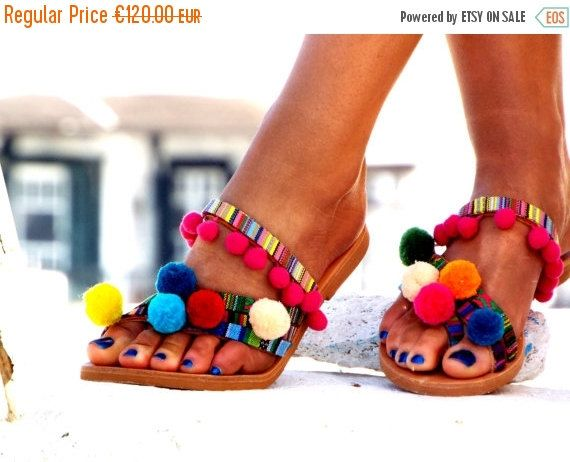 "ONE WEEK SALE Hippie Chic Sandals, Pom Pom sandals, Colorful leather Sandals, boho Sandals, ""Goa"" Greek Sandals, barefoot sandals, Summer sh"