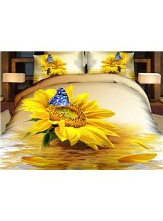 Charming Sunflower and Blue Butterfly Print 4-Piece Duvet Cover Sets