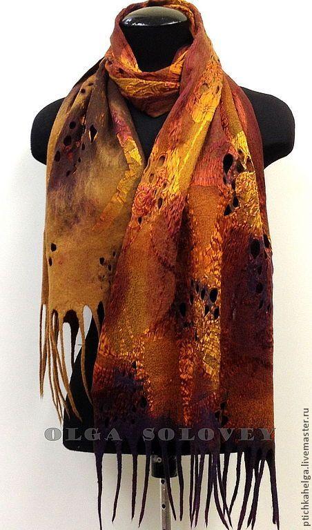 Купить шарф валяный КОРИЦА И МЕД - коричневый, шерсть, валяние из шерсти, felt