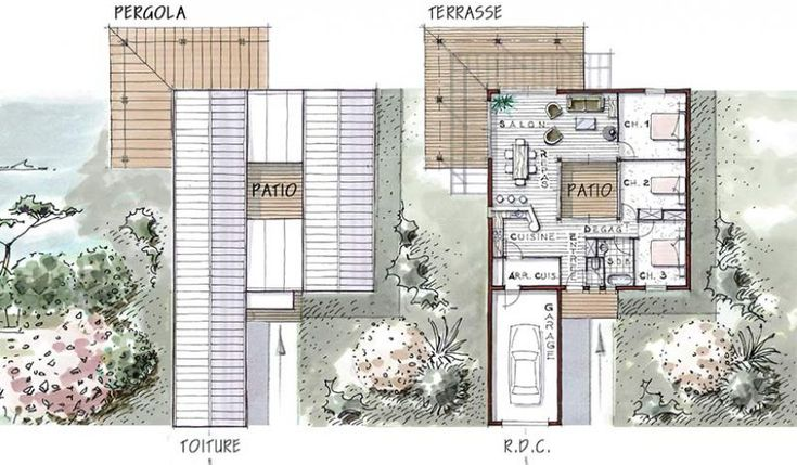 Eos and patio on pinterest for Plan maison patio