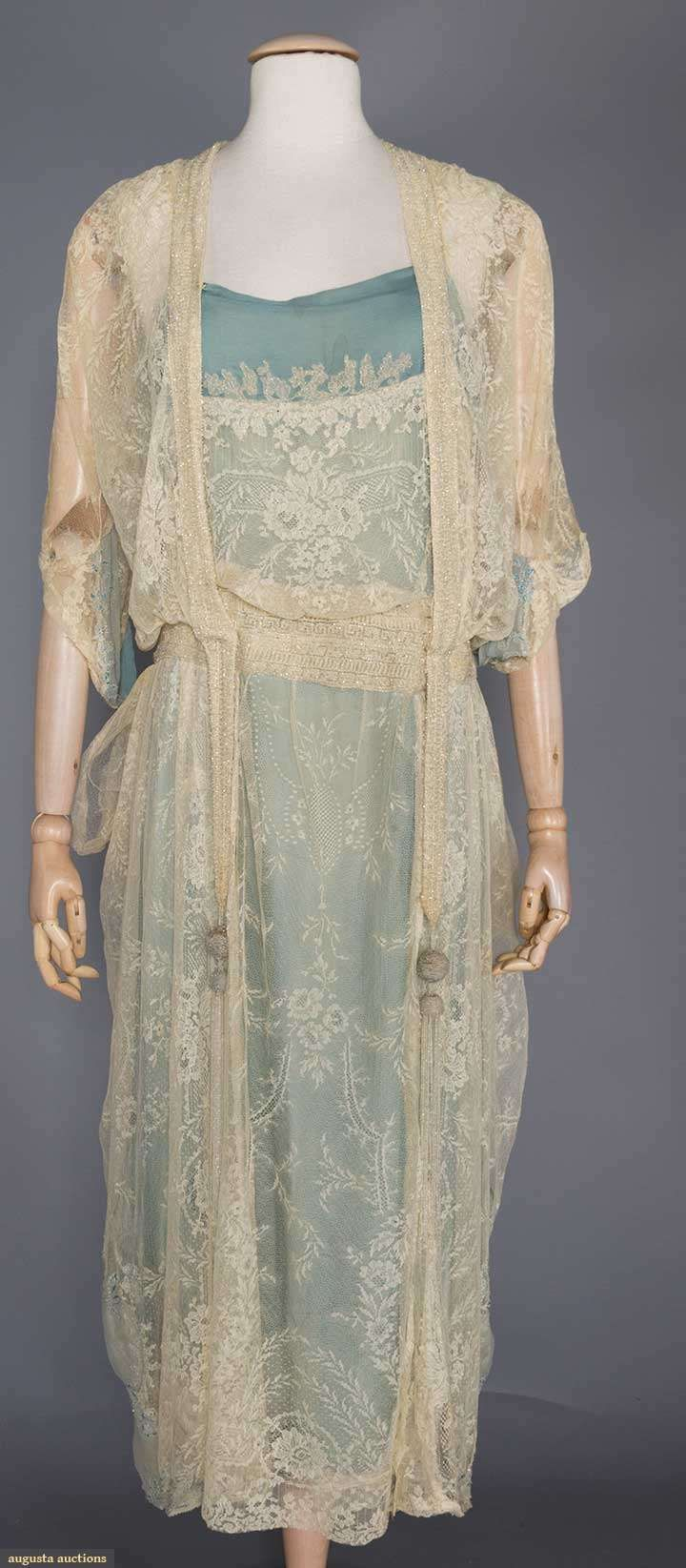 Fashion and Costume History     – edwardian-time-machine:  BEADED CREAM LACE EVENING...