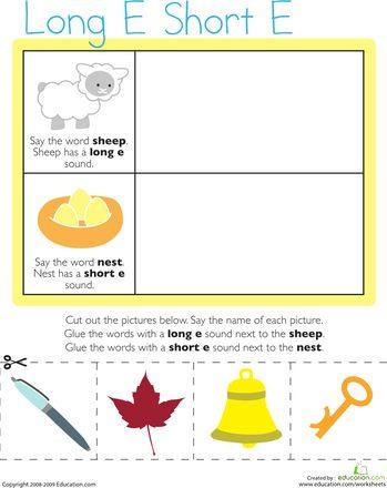 Worksheets: Vowel Sounds: Long E, Short E