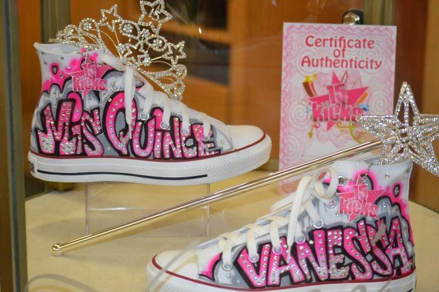 Love this idea for mija, but in black & white Quinceanera converse style shoes