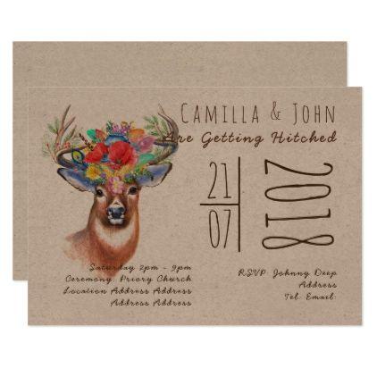 Rustic STAGS Head KRAFT wedding invitation BOHO - wedding invitations diy cyo special idea personalize card