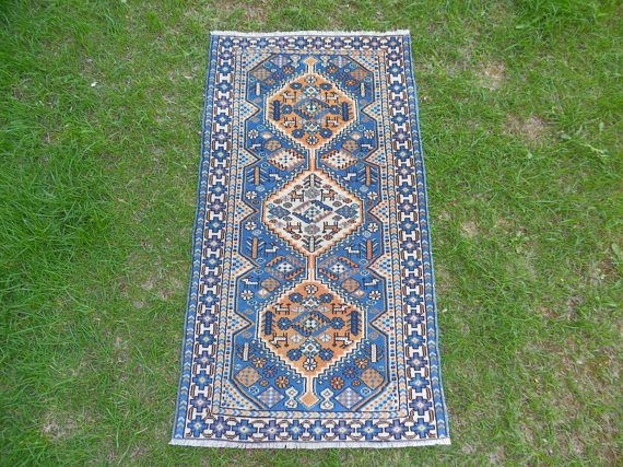 Small Vintage Rug Small Vintage Carpet Blue Oushak Rug
