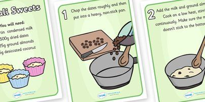 Twinkl Resources >> Easy Diwali Sweets Recipe >> Classroom printables for Pre-School, Kindergarten, Primary School and beyond! recipe, easy recipe, basic recipe, basic sweets recipe, easy sweets recipe, cooking, baking, how to make diwali sweets, kids recipes, instructions, ingredients, festival, religion, hindu, devali, deepavali, dates, coconut, activity, yummy, cooking, food, interactive, make, eat,
