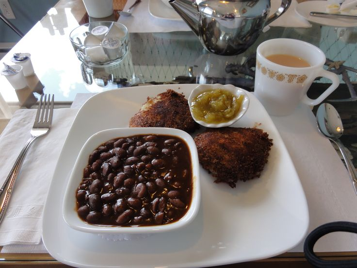From Dock Yur Dory, Port Morien Cape Breton Island, fish cakes. home made baked beans, green tomato chow chow and a great cup of tea!!  Just like my Nanny's kitchen! You've got to eat here!