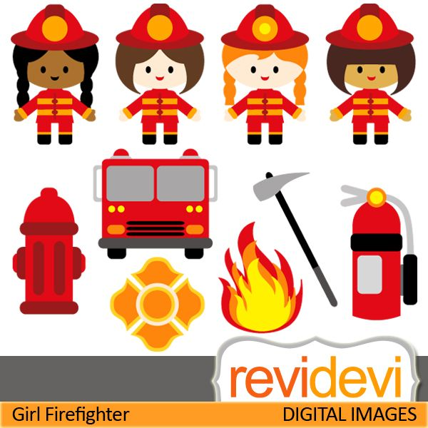 Firefighter cliparts. Girls in firefighter costume. These   digital images are  great for any craft and creative   projects (specially for books and school theme projects)
