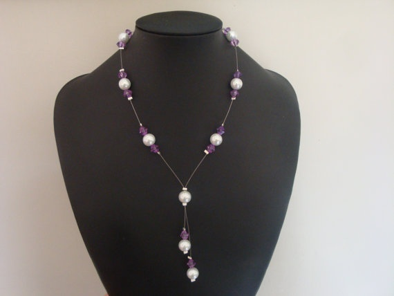 Floating Pearl Y Necklace by traceysjewellery on Etsy, £6.99
