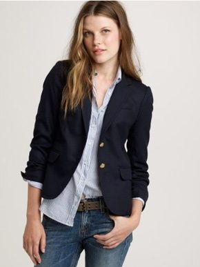 the navy schoolboy blazer is a staple. jcrew and banana republic carry great versions.