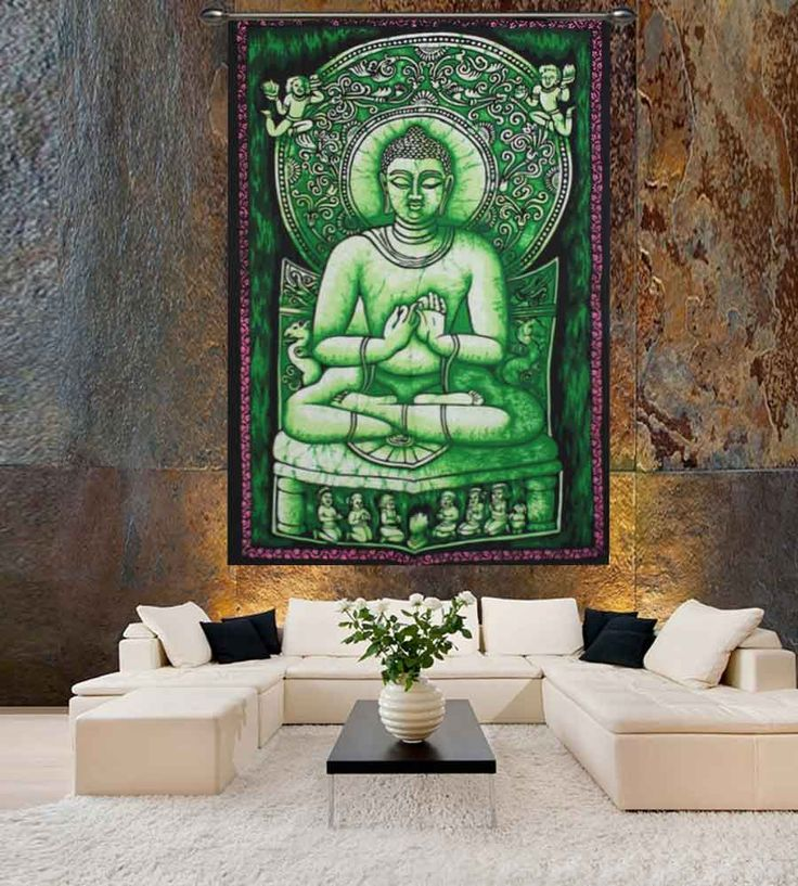 Buddha meditation olive green batik wall hanging tapestry.Perfect for topping a bed, couch, wall or your favorite chair.This Wall Tapestry can also be used as a: - Tapestry or a Wall Hanging, Bedspread, Bed Cover, Table Cloth, Curtain, Dorm Decor, Picnic Sheet Add an ethnic feel to your room with this cotton handmade wall hanging.