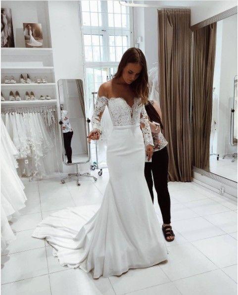 Mermaid Wedding Dress,Long Sleeves Bridal Dress,Sexy Off Shoulder Sleeves Wedding Gown