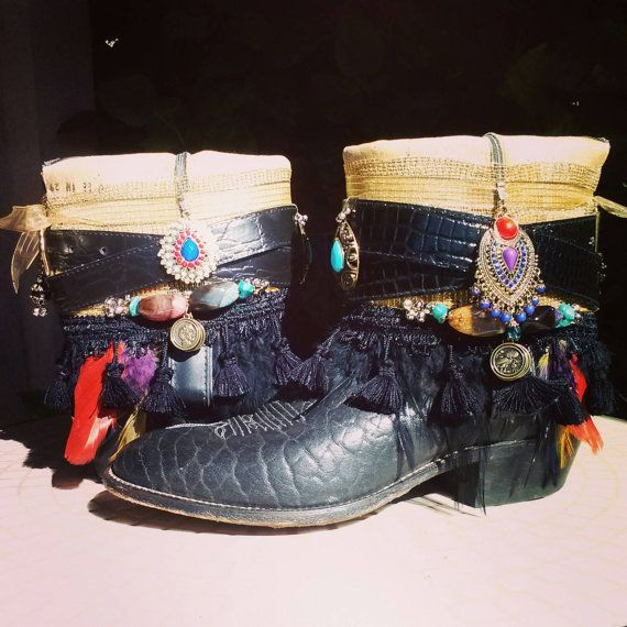 Custom Upcycled Vintage Cowboy Boho Boots Tribal Dance