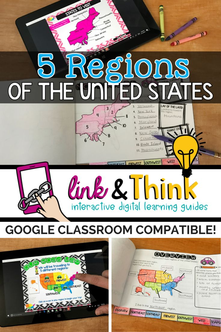 Try Link & Think Digital Learning guides to teach your students about the 5 regions of the United States!  Google Classroom Compatible!