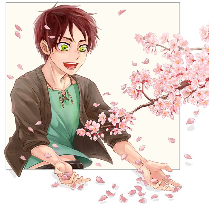 My adorable baby Eren admiring cherry blossoms :) <3 | SNK