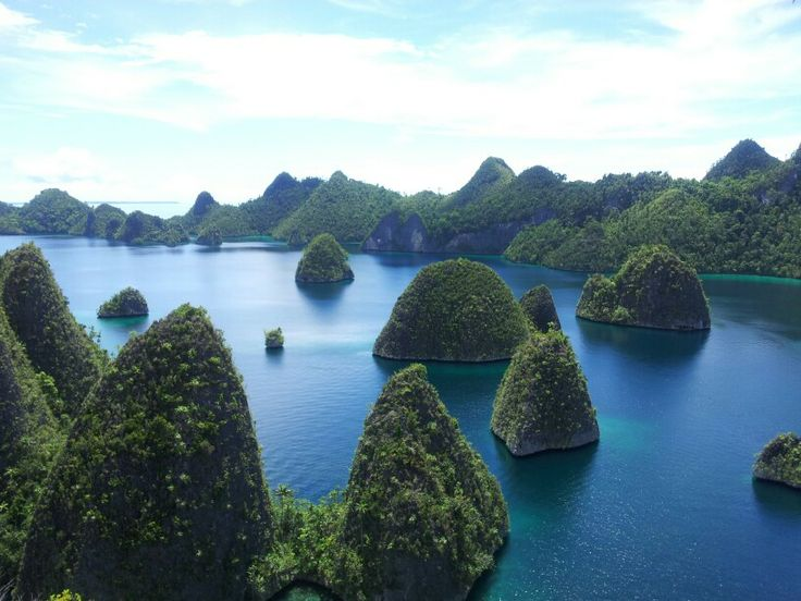 view from top of the hill raja ampat,indonesia