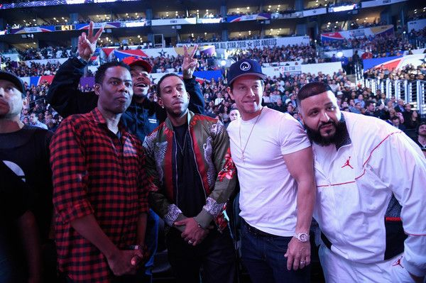 Mark Wahlberg Photos - (L-R) Chris Rock, Chance the Rapper, Ludacris, Mark Wahlberg and DJ Khaled attend the 2018 JBL Three-Point Contest at Staples Center on February 17, 2018 in Los Angeles, California. - JBL Three-Point Contest 2018