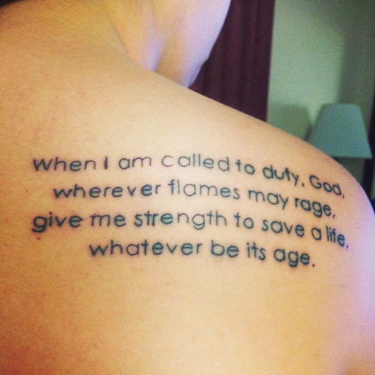 My first tattoo. #firefighter #firefighterprayer #tattoo