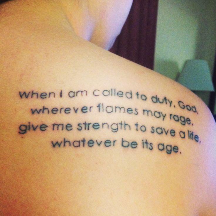 My first tattoo. #firefighter #firefighterprayer #tattoo