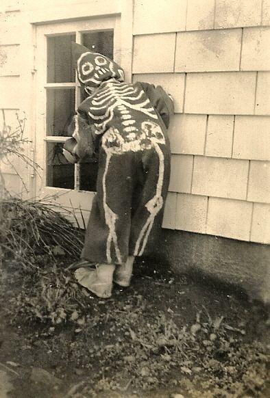Vintage Photo~Halloween, Look...the Kid has it on Backwards....COOL!