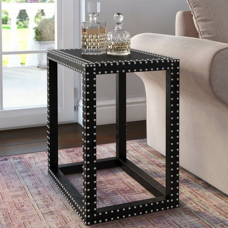 Black Side Table Rectangular Silver Iron Nail Head Living Room Hallway Furniture