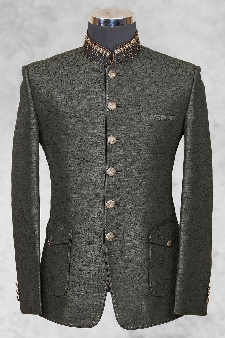 Grey Graceful Raw Silk Suit With Bandhgala Collar St476