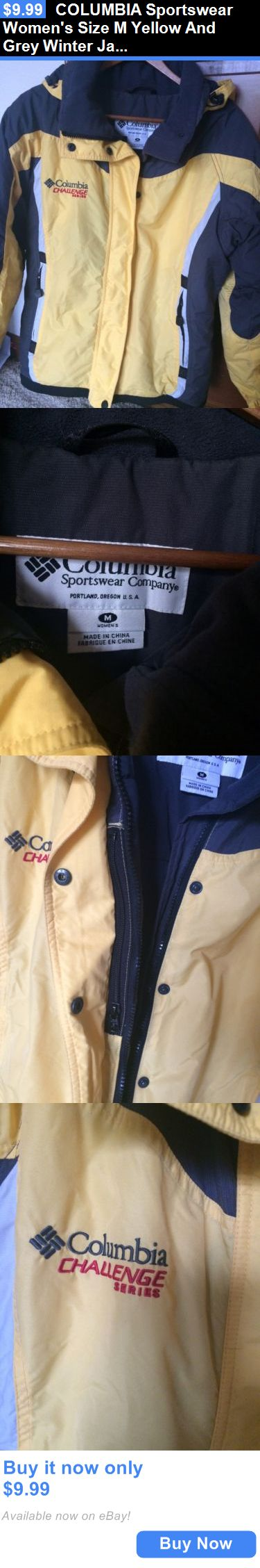 Women Coats And Jackets: Columbia Sportswear Womens Size M Yellow And Grey Winter Jacket Coat. BUY IT NOW ONLY: $9.99