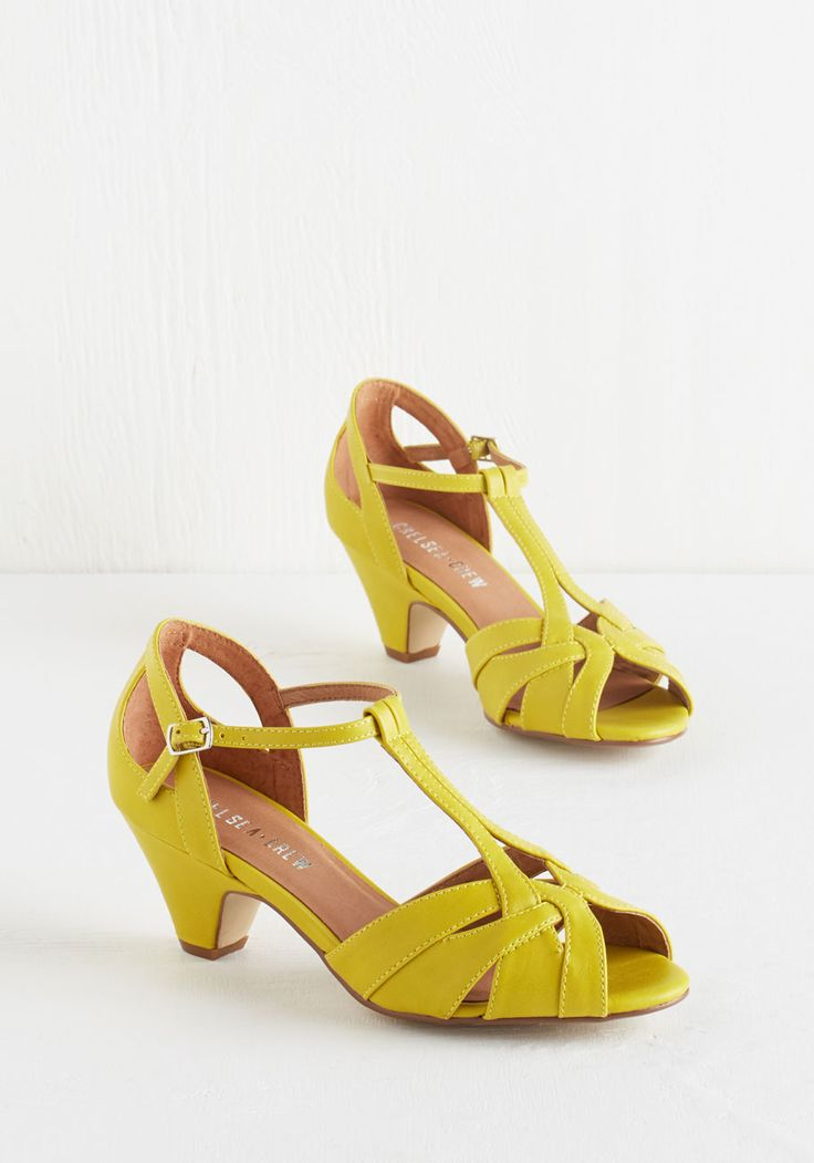 Architectural Tour Heel in Citron by Chelsea Crew - Mid, Yellow, Solid, Cutout, Special Occasion, Prom, Wedding, Party, Work, Vintage Inspired, 20s, Luxe, Spring, Better, Variation, T-Strap