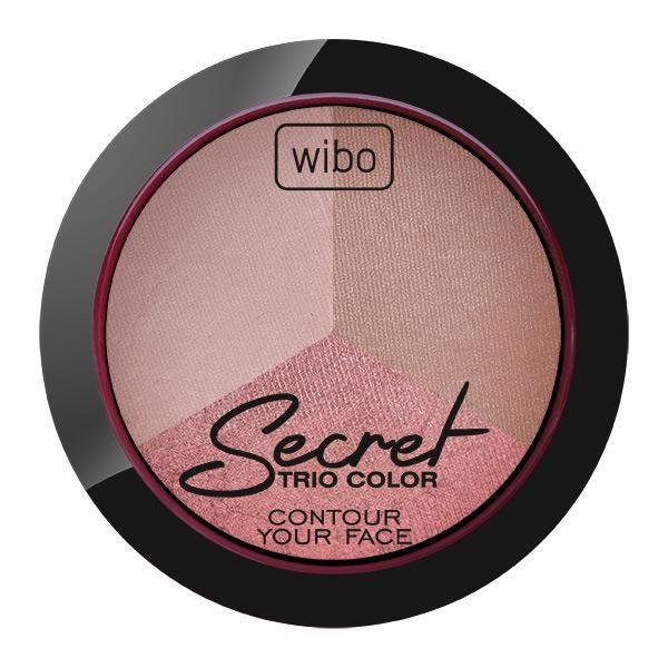 Secret Trio Color  Wypiekany zestaw kamieni 3 w 1. Zawiera klasyczny odcień pudru matującego , służącego do wykończenia makijażu, bronzer niezbędny do modelowania rysów twarzy oraz rozświetlacz podkreślający kości policzkowe, uwydatniający usta lub rozświetlający spojrzenie. Wyjątkowa formuła tego zestawu gwarantuje trwałość oraz łatwą aplikację. Zestaw niezbędny przy modelowania twarzy.