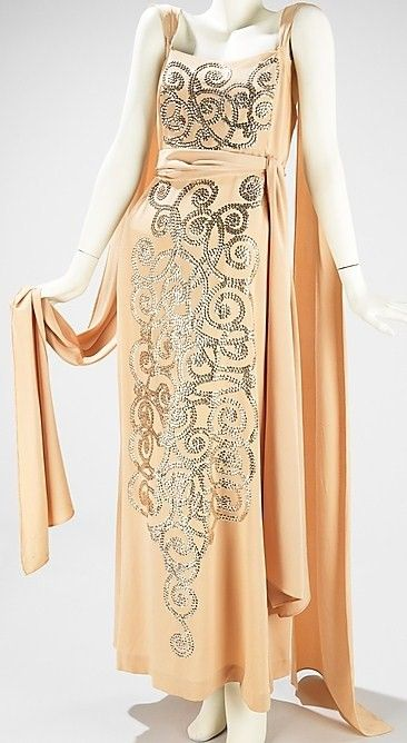 circa 1930's Art Deco Sequined Evening Gown & Train