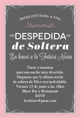 """En Honor a La Novia""  printable invitation template. Customize, add text and photos. Print or download for free!"
