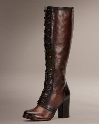 Tall leather lace up and rear zipper thigh boots